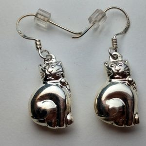 Cute Sterling Silver Smiling Cats Earrings